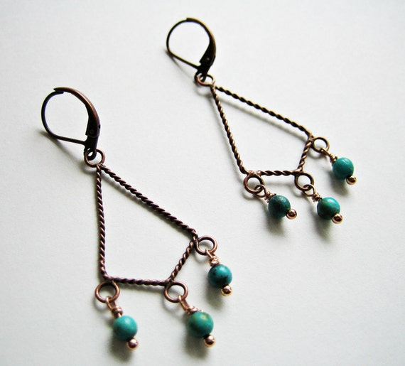 Copper Plated Twisted Dangle Turquoise Earrings
