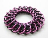 Pink and Black Stretchy Chainmail Bracelet - Interwoven 4 in 1