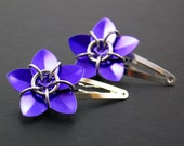 Two Purple Scale Flower Hair Barrettes
