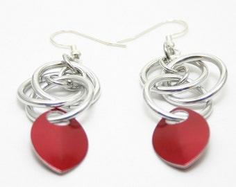 Red Scale Orbital Earrings