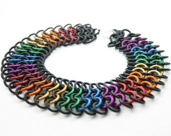 Rainbow Rubber Pride Chainmail Choker