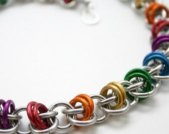 Pride Rainbow Barrels Chainmail Necklace