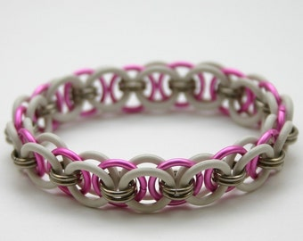 Pink and White Stretchy Helm Chainmail Bracelet