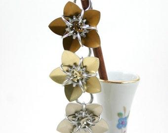 Steampunk Trio Cascading Scale Flowers Hair Stick