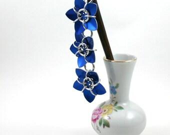 Blue Cascading Scale Flower Hair Stick