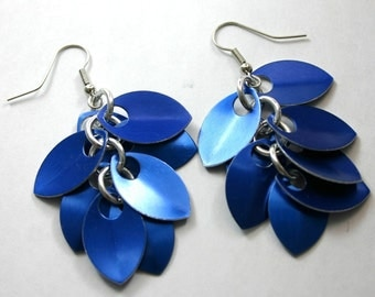 Blue Shaggy Scale Earrings