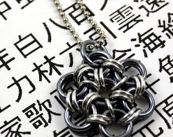 Shiny Gunmetal Japanese Flower Pendant