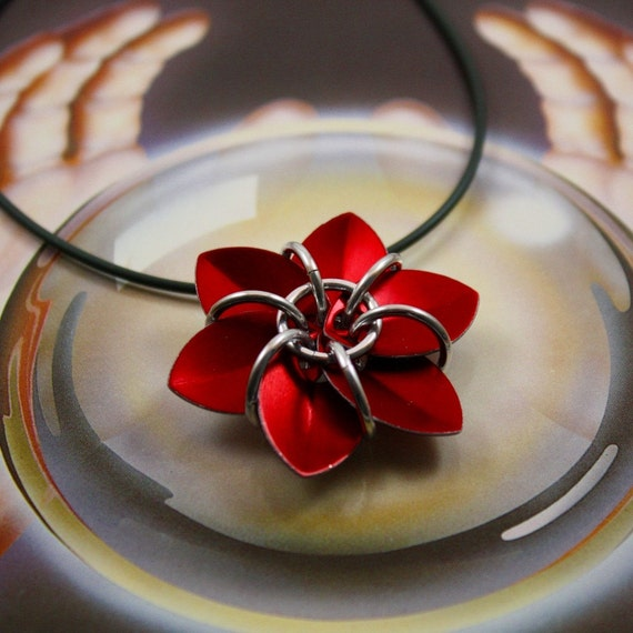 Red Scale Flower Pendant