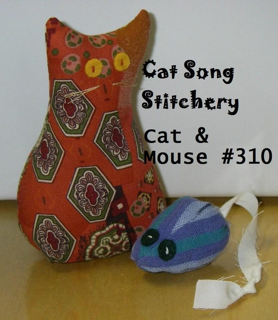 Cat and Mouse, stuffed, toys, decor, paperweight, pin cushion, easy Sewing Pattern -pdf