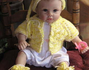 Reborn Doll Clothes,  Hat, Slippers, Shrug, Pattern   Newborn  to 3 mos.  Knitted