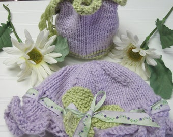 Knitting Pattern Little Girl's Hat and Bag Child 3-10