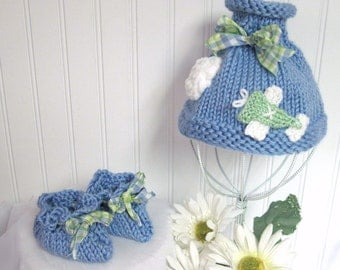 Knit Pattern Baby Boutique Sky Rider Hat and Booties Patterns  Knitted