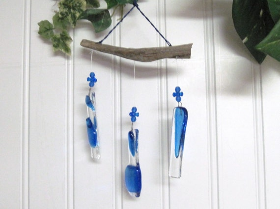 Ready to Ship Little Blue Glass  Wind Chime Light Catcher