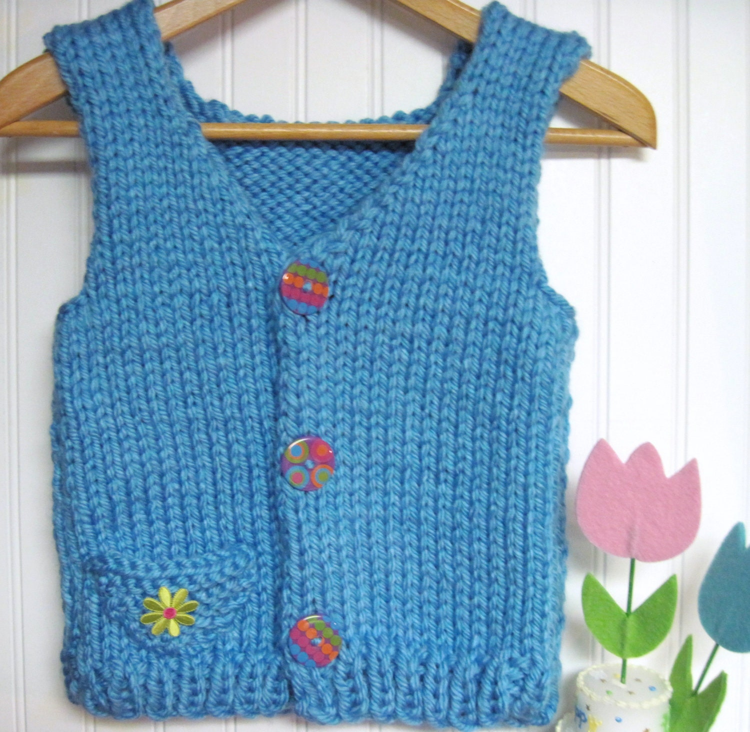 Knitting Pattern Vest Bulky Yarn : Childs Vest Bulky Yarn Knitting Pattern for 5 to 12