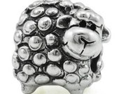 Cute Curly Sheep, fiber arts charm bead  sterling, FREE shipping