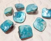 Mother of Pearl Irregular Diamond Shell Beads - Aqua