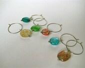 six handmade glass beaded wine charms