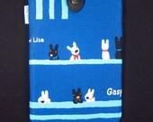 iPad Mini Kindle Nook Kobo Padded Sleeve Case with Button - Doggies (blue)