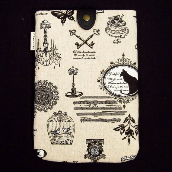 Kindle Nook Kobo Nexus 7 Padded Sleeve Case with Button Tab - French Linen