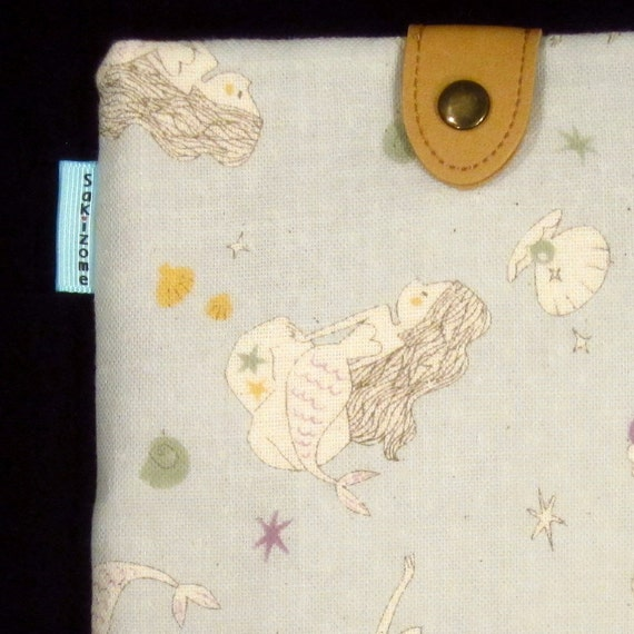 Kindle Padded Sleeve Case with Japanese Button Tab - Mermaids - Last One