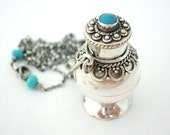 Turquoise Bottle Necklace sterling silver ornate pendant bright blue gemstone jewelry - bohemian jewelry