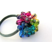 Rainbow Ring swarovski crystal multicolor wire wrapped cluster jet black oxidized sterling silver fashion