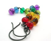 Rainbow Earrings - new years party jewelry red, orange, yellow, emerald, blue, purple - black sterling silver fashion