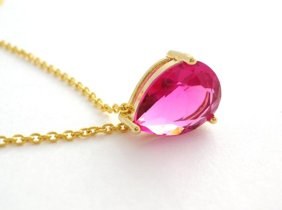 Jewel Necklace hot pink glass drop 24k gold vermeil dainty jewelry