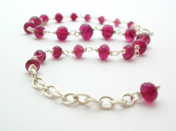Pink Tourmaline Bracelet handmade sterling silver jewelry