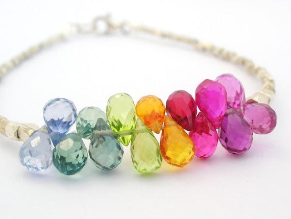 RESERVED   .......    for Kim   .......   Fine Silver Bracelet bohemian bridal bracelet bright rainbow jewelry fashion australian jewellery