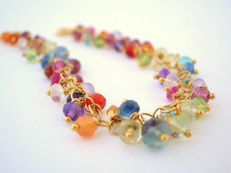 gemstone bracelet wire wrapped jewelry delicate gold bracelet
