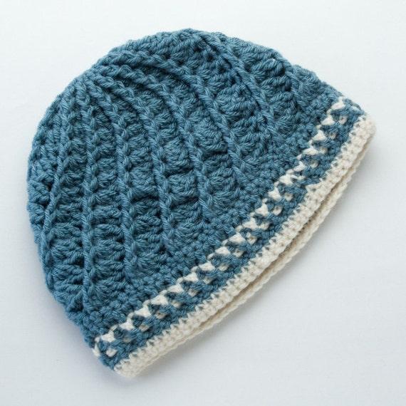Crochet Hat - Blue and White Ladies Divine Hat - Crocheted Adult Beanie Cap