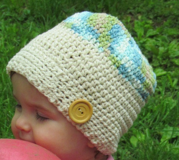 Girls Cotton Bonnet with Oversized Button  - Crocheted Hat READY TO SHIP