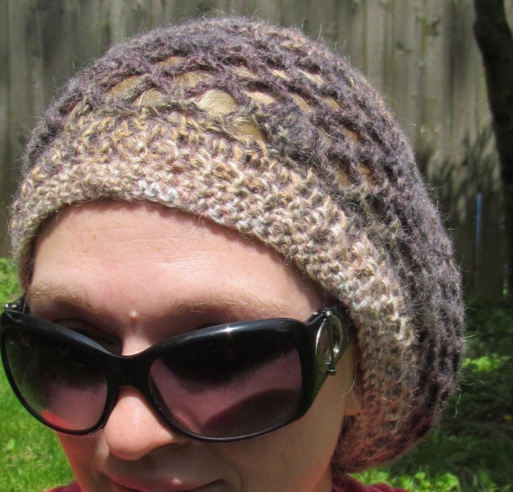 SALE Crochet Hat Slouchy Beret in Wool Blend Bohemian Look