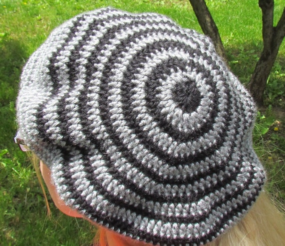 Oakland Raiders Slouchy Beret Hat - Spirals in Black and Grey - Large or XL
