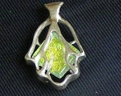 HAMSA , Hand of Fatima , Protection Pendant ,Silver and Dichroic glass jewelry.Free expedited shipping.