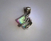Chai Protection Pendant Silver and Dichroic glass jewelry .Free expedited shipping.