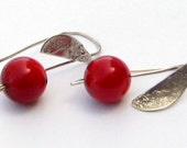 Red coral silver earrings ,red earings, silver coral earrings,coral necklace. Free expedited shipping