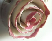 Pink Porcelain Rose for a sweet autumn  - Necklace