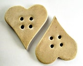 2 Cream Hearts Buttons - Gres Buttons