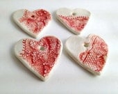 4 Red Laced Hearts - Limoges Porcelain Pendants Red
