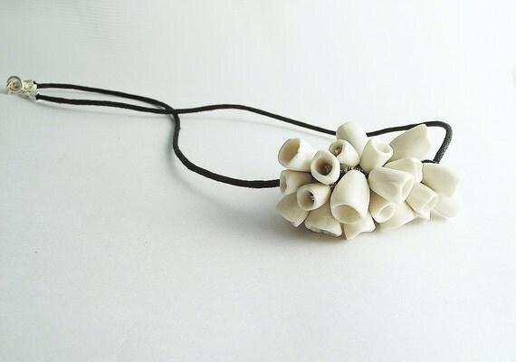 Porcelain Cotton Cord Jingle Bells Necklace - Necklace