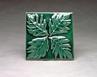 Swiss Cheese plant 6x6 porcelain relief tile in green.  MADE TO ORDER