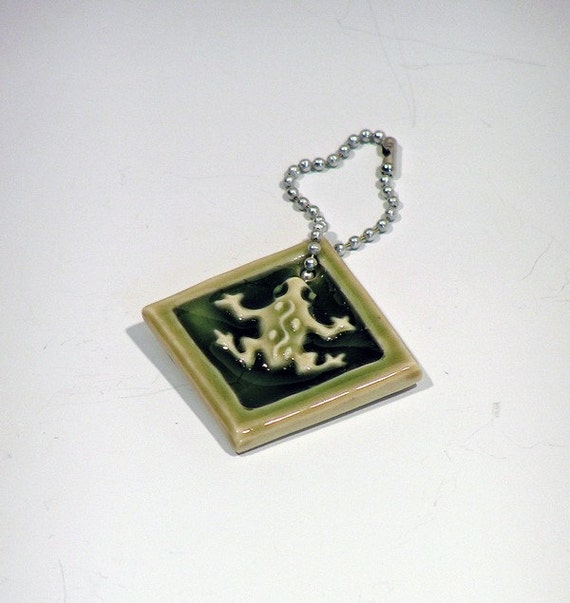 Frog- key chain pendant, good luck charm in sage green.