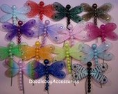 6 Sparkly Dragonfly Embellishments With Pearls