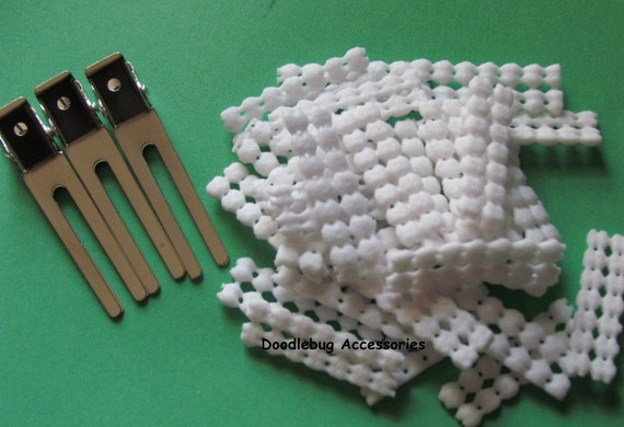 100 Double Prong Alligator Hair Clips 1 3/4 Inch (45mm) CPSIA Compliant WITH 100 White Non Slip Grips LOW Shipping