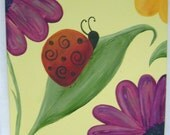 Decorative Wall Art - Hand Painted 12 x 12 Canvas Wall Art - Lady Bug 'N Daisies