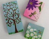 Decorative Art - Set of 3 Hand Painted Magnets - Back to Nature Series