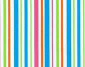 Kaufman Pimatex Basic Aqua Stripe Pink Orange 1 yard