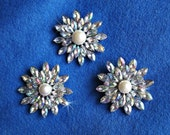 Rhinestone and Faux Pearl Brooch 3 Piece Lot Sparkle